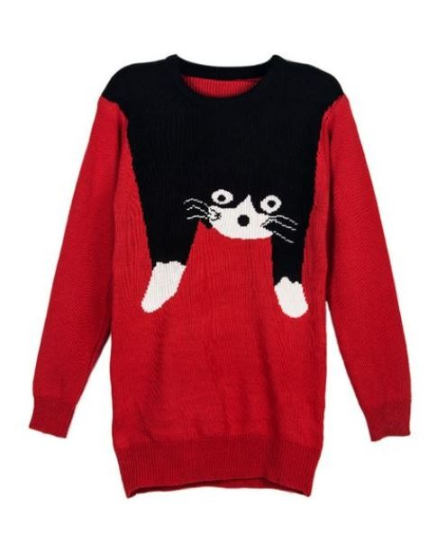 Red Cat Intarsia Sweater