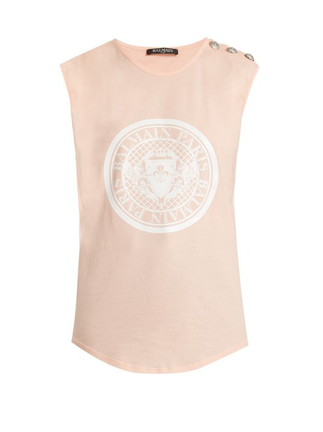 tank top top cotton print light pink light pink