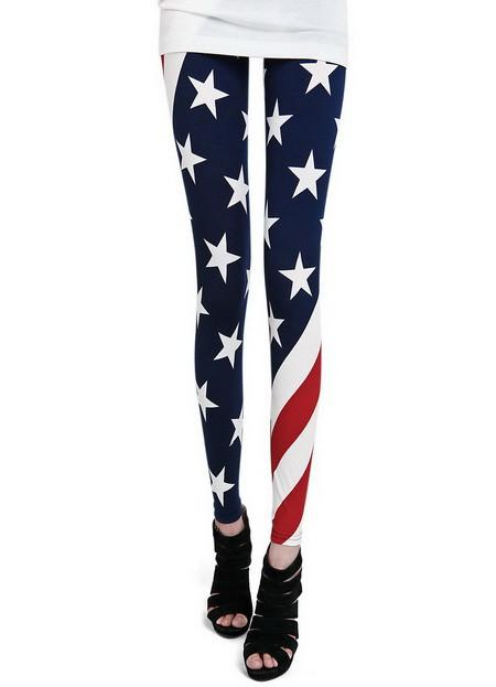 Multi Leggings/Tights - American Flag Print Skinny Leggings   UsTrendy