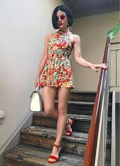 romper,sandals,shorts,top,lucy hale,instagram,floral,shoes