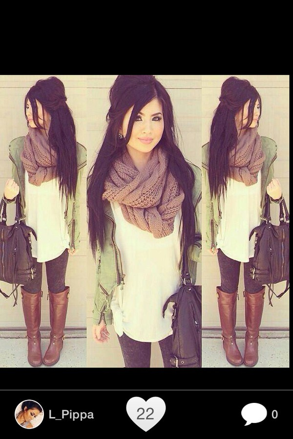 boots scarf jacket light green leather leggings outfit green jacket