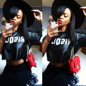 black t-shirt swag dope urban black girls killin it hat beautiful trill cute african american red lipstick style black white