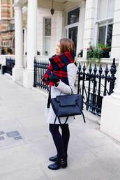 scarf,tumblr,tartan,tartan scarf,coat,grey coat,jeans,black jeans,boots,black boots,flat boots,bag,black bag,cold weather outfit,winter outfits,winter look,leather gloves,gloves
