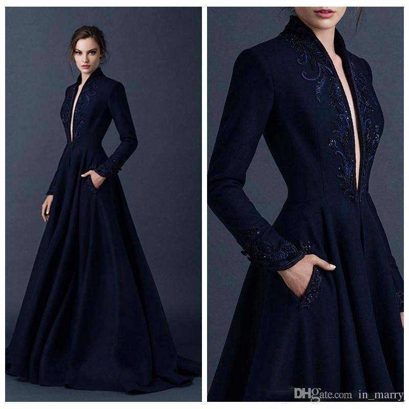 Paolo Sebastian Navy Blue Evening Dresses with Pocket 2015 Long Sleeves  Plus Size Long Satin Arabic ... 7d9de8e7a