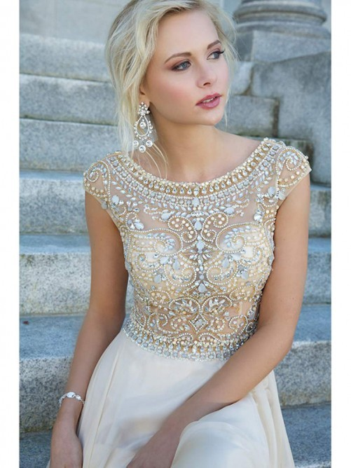 Scoop A-line/Princess Short Sleeves Beading Rhinestone Floor-length Dress - Long Prom Dresses - Prom Dresses