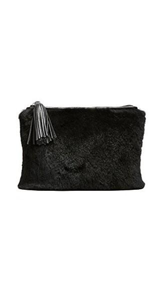 fur pouch black bag