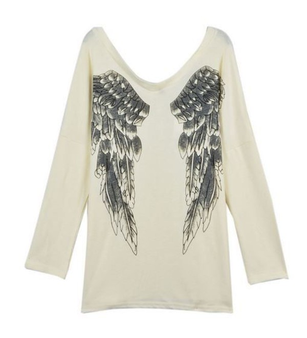 top white shirt long line shirt angel wings shirt loose top www.ustrendy.com