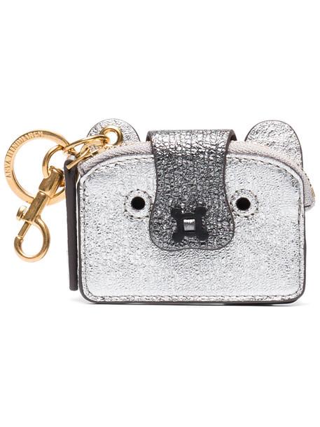 Anya Hindmarch women purse leather grey metallic bag