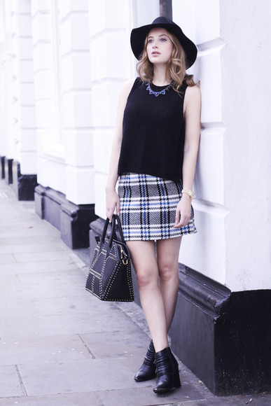 tartan skirt bag top fall outfits at fashion forte blogger necklace
