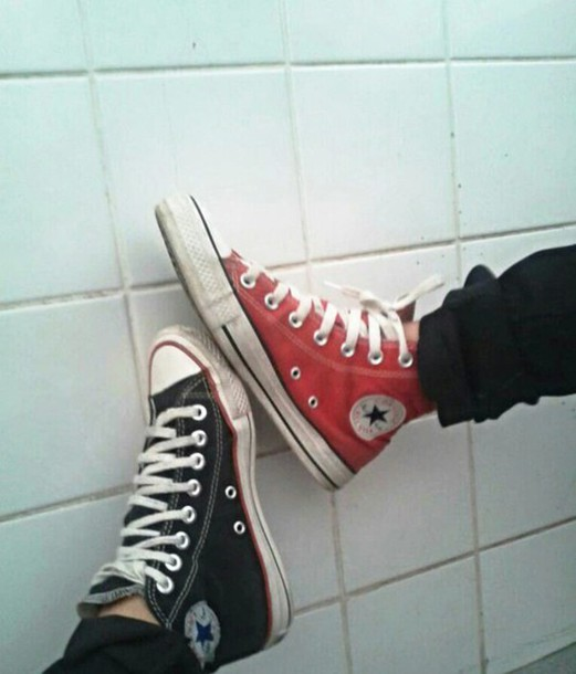shoes converse red black