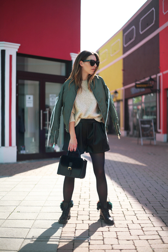 jacket tumblr army green jacket knit knitwear knitted sweater sweater shorts tights boots black boots