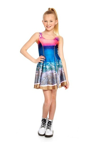 dress sunset color dress printed dress girly dress skater dress