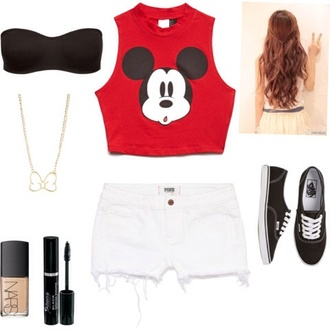 shirt mickey mouse white shorts strapless bra vans shorts mouse crop tops bows necklace make-up mascara jewels shoes nail polish red