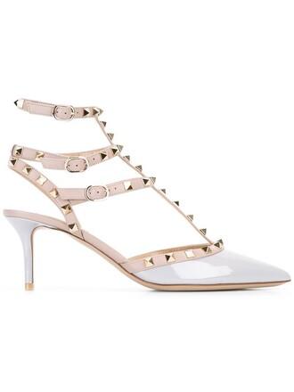 metal women pumps leather grey shoes