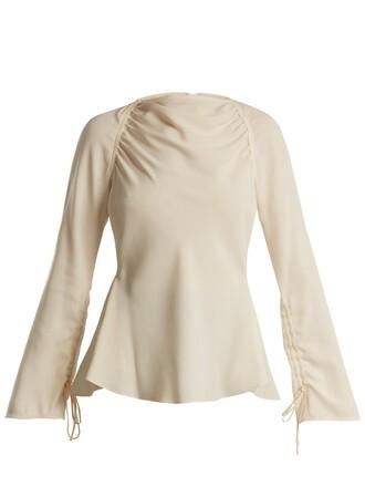 blouse back satin top
