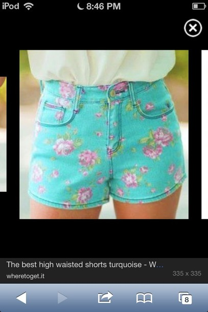shorts floral turquoise High waisted shorts cute summer