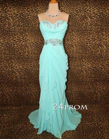 Fashion Sweetheart Chiffon Ice Blue Prom Dress, Formal Dress - 24prom