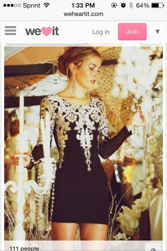 dress little black dress lace dress semi formal black black and white cute dress long sleeve dress