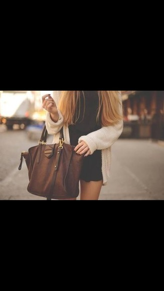 bag beige brown leather bag fall outfits brun big
