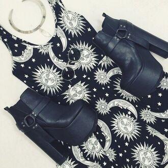 dress sun moon stars tumblr grunge hair accessory