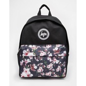 bag,tumblr,backpack,flowers,pink,black,back to school