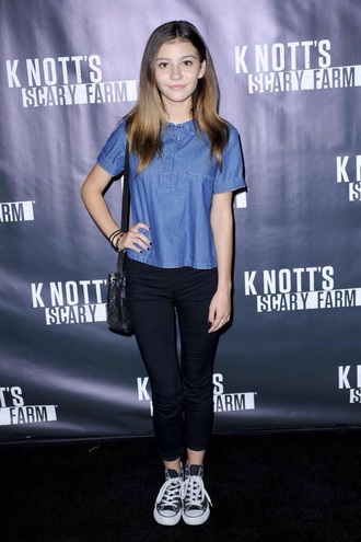 t-shirt top disney denim top denim blue denim pants black pants shoes converse bag black bag style clothes outfit short sleeve g hannelius blue denim shirt tumblr outfit jeans