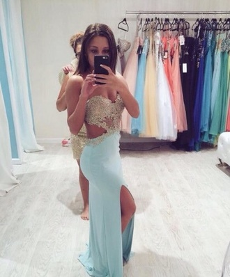 dress blue formal formal dress blue dress open back dresses long prom dress gold lafemme turquoise glitter backless prom prom dress prom gown long dress elegant dress elegant diamonds girl girly jewels beautiful light blue sky blue date outfit party dress blue prom dress