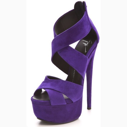 Christmas Gift:Giuseppe Zanotti Crisscross Suede Platform Sandals