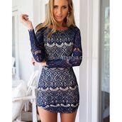 dress,xenia boutique,mini dress,long-sleeve dress,navy dress,lace dress,fashion