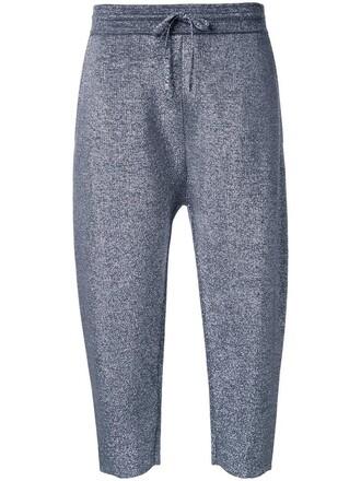 pants track pants cropped women wool grey metallic
