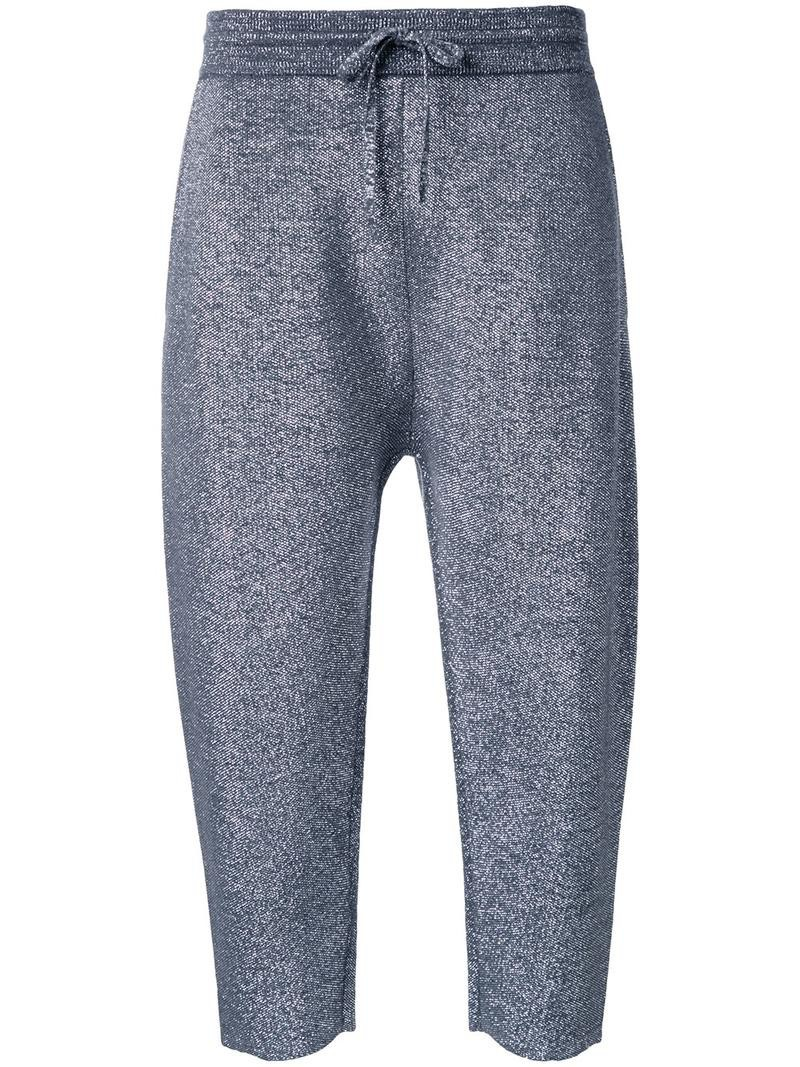 pants track pants cropped women wool grey metallic