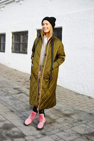 shoes down jacket tumblr boots pink boots coat long coat green coat oversized oversized coat beanie winter outfits winter coat streetstyle