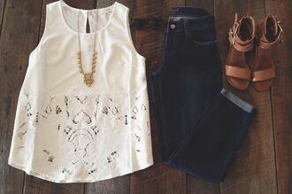 white shirt blouse lace tank top sleeveless whitetanktop