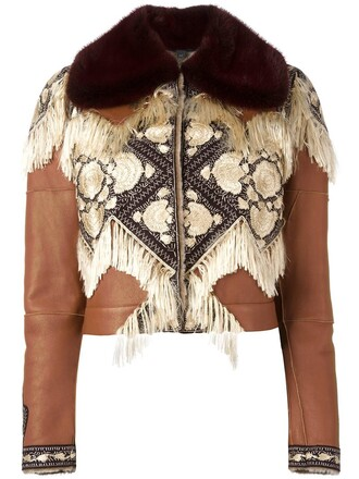 jacket embroidered jacket embroidered brown