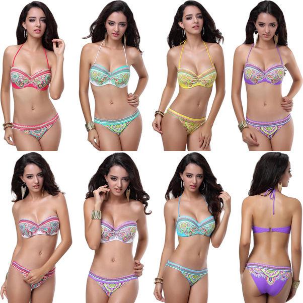NEU Sexy Damen Bikini Blumen Push-up Bademode Muti Farben Badeanzug S/M/L | eBay