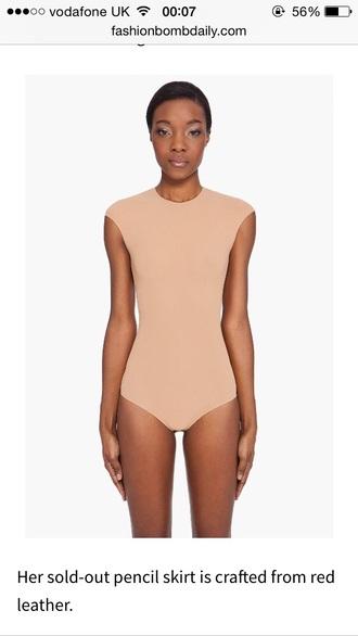 top nude tight leotard bodysuit kim kardashian
