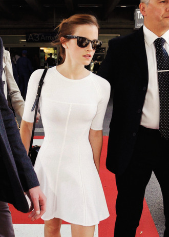 emma watson white dress white dress skater dress high neck half sleeve tight dress