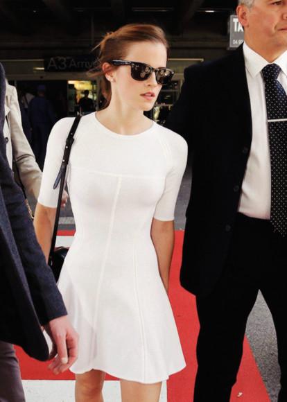 emma watson dress white dress white skater dress high neck half sleeve tight dress