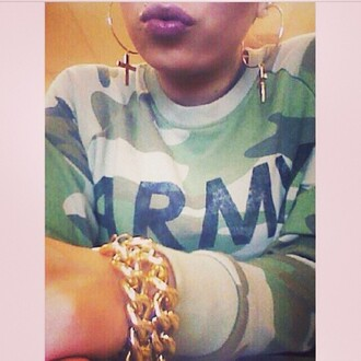 sweater army green jacket haters cross earring chain bracelet
