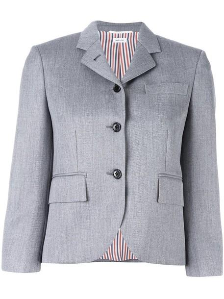 Thom Browne blazer women silk wool grey jacket