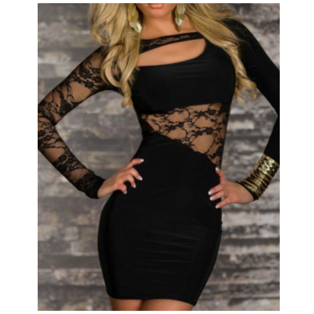 New Sexy Black Clubwear Dresses Lace Satin Soft Slim Mini Dress For Women Cheap On Sale Lace Long Sl on Luulla