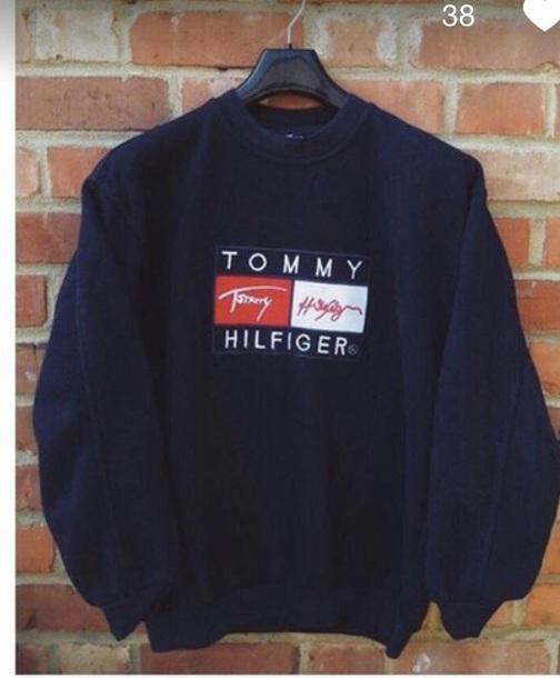 sweater black black sweater blue dark dark blue tommy hilfiger tommy hilfiger vintage vintage trendy