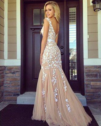 dress prom beige senior prom mermaid prom dress pretty long dress long prom dress