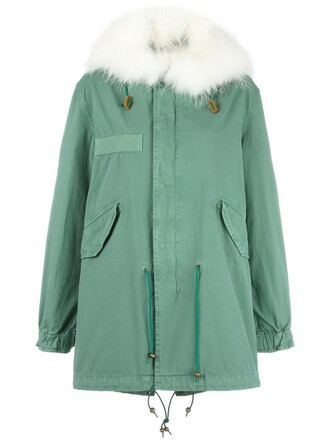 coat parka fur women cotton green