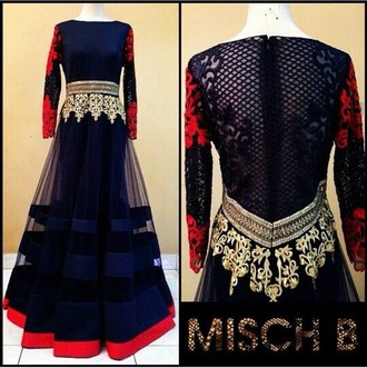dress blue red anarkali indian lace