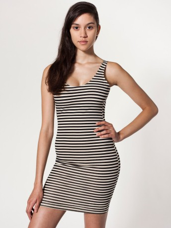 Striped Cotton Spandex Jersey Scoop Back Tank Dress | Mini Sleeveless | Women's Dresses | American Apparel