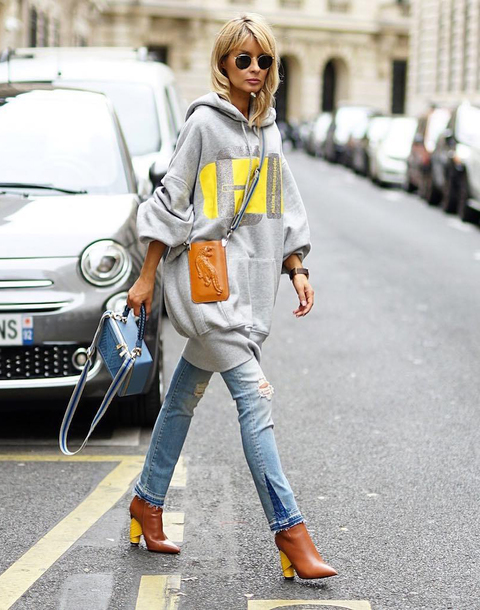 bag tumblr brown bag mini bag crossbody bag hoodie grey hoodie oversized sunglasses denim jeans blue jeans boots brown boots