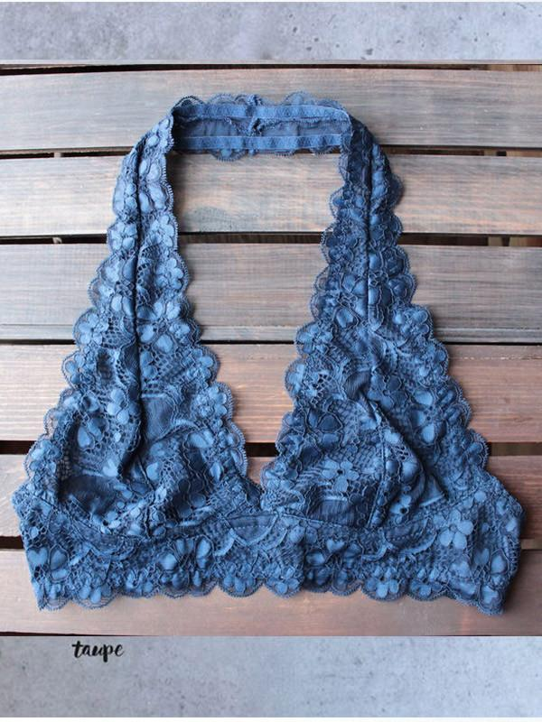 Pure Color Hanging Neck Sexy Lace Bra Vest