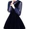 Navy blue semi-sheer blouse and velvet dungaree dress