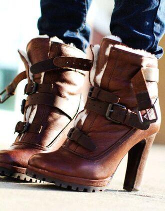 shoes high heels boots high heel boots buckle boots buckles lace up boots brown leather boots fur boots platform high heels boho